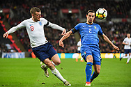 England Forward Jamie Vardy (9) and Italy Defender Mattia De Sciglio (2) in action during the Friendly match between England and Italy at Wembley Stadium, London, England on 27 March 2018. Picture by Stephen Wright.