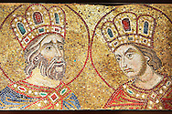 14th century mosaics of the profets David & Solomon from the South Wall of the Ante Baptsitery.  Basilica San Marco ( St Mark's Basilica ) Venice, Italy