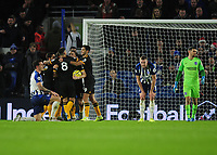 Football - 2019 / 2020 Premier League - Brighton & Hove Albion vs. Wolverhampton Wanderers<br /> <br /> Diogo Jota of Wolves celebrates the 2nd of his two goals with team mates, at The Amex.<br /> <br /> COLORSPORT/ANDREW COWIE