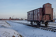 A historic train car placed at the ramp (unloading platform) at the Auschwitz II-Birkenau site. It is estimated that between 1.1 and 1.5 million Jews, Poles, Roma and others were killed in Auschwitz during the Holocaust in between 1940-1945.