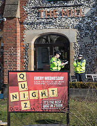 © Licensed to London News Pictures. 07/03/2018. Salisbury, UK. Police maintain a cordon around The Mill pub where former Russian spy Sergei Skripal and his daughter visited before becoming ill with suspected poisoning. The couple where found unconscious on bench in Salisbury shopping centre. Specialist units have been called in to deal with any possible contamination. Photo credit: Peter Macdiarmid/LNP