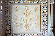 The Taj Mahal mausoleum interior by tombs of Shah Jahan and Mumtaz Mahal , Uttar Pradesh, India