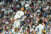 Raphael Varane of Real Madrid battles for an aerial ball  during the match of Champions League between Real Madrid and Atletico de Madrid at Santiago Bernabeu Stadium  in Madrid, Spain. May 02, 2017. (ALTERPHOTOS/Rodrigo Jimenez)