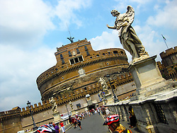 Castel Sant'Angelo, is a towering cylindrical building in Rome, as seen from th abridge over the river Tiber. Also known as the Mausoleum of Hadrian. 1st July, 2011..©Pic : Michael Schofield.