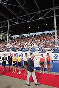 St Catherines, CANADA,   Women's Double Scull. .Gold medalist. .GER. W2X. Kathrin BORON , Jana THIEME.Silver Medalist CHN. W2X. Lin LIU , Xiuyun ZHANG.Bronze Medalist NED. W2X. Pieta van DISHOECK , Eeke van NES. 1999 World Rowing Championships - Martindale Pond, Ontario. 08.1999..[Mandatory Credit; Peter Spurrier/Intersport-images]    .... 1999 FISA. World Rowing Championships, St Catherines, CANADA