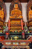 Shanghai, China - April 7, 2013:  statue in the The Jade Buddha Temple Shanghai China