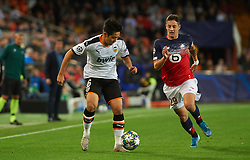 November 5, 2019, Valencia, Valencia, Spain: Lee Kang-In of Valencia and  Domagoj Bradaric of Losc Lille during the during the UEFA Champions League group H match between Valencia CF and Losc Lille at Estadio de Mestalla on November 5, 2019 in Valencia, Spain (Credit Image: © AFP7 via ZUMA Wire)