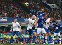 Everton's Phil Jagielka rises above Leicester City's Islam Slimani (right and Andy King (left to head his sides third goal<br /> <br /> Photographer Stephen White/CameraSport<br /> <br /> The Premier League - Everton v Leicester City - Sunday April 9th 2017 - Goodison Park - Liverpool<br /> <br /> World Copyright © 2017 CameraSport. All rights reserved. 43 Linden Ave. Countesthorpe. Leicester. England. LE8 5PG - Tel: +44 (0) 116 277 4147 - admin@camerasport.com - www.camerasport.com