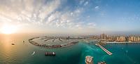 Aerial view of The Palm Jumeirah in Dubai, UAE.