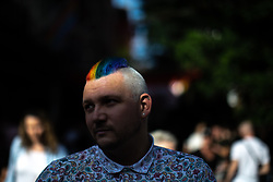 © Licensed to London News Pictures . 23/08/2019 . Manchester , UK . People out in Manchester's Gay Village during the first day of Manchester Pride's Big Weekend . Photo credit : Joel Goodman/LNP