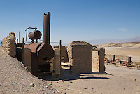 Steam boiler at Harmony Borax Works, Death Valley National Park, California. Borax was refined here between 1883 and 1888, employing 40 men, mostly Chinese immigrants, to produce up to three tons of borax per day.