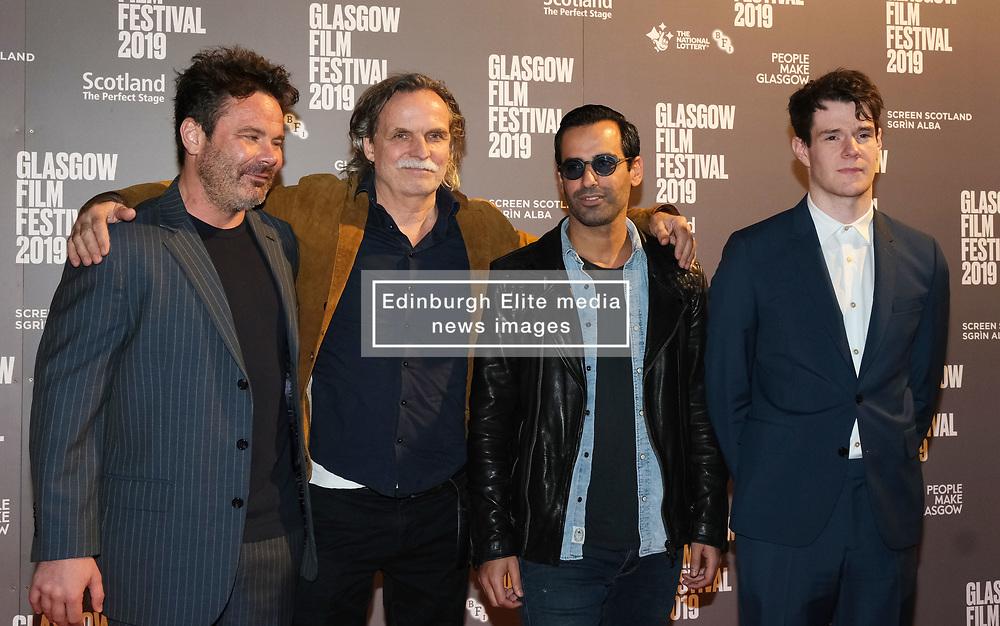 Glasgow Film Festival 2019<br /> <br /> The UK Premiere of The Vanishing<br /> <br /> Pictured: L-R Mickey Gooch Jr, Kristoffer Nyholm, Maurice Fadida, Connor Swindells<br /> <br /> (c) Aimee Todd   Edinburgh Elite media