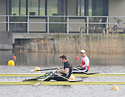 Hazewinkel, BELGIUM,  Men's Single Sculls B Final right Brenden CREAN just holds of the Challenge of Greg SEARLE, to take 7th position in the rankings, and relegate, SEARLE to 8th at the Monday Morning Final.  British Rowing Senior Trails, Bloso Rowing Centre. Monday  12/04/2010.  [Mandatory Credit. Peter Spurrier/Intersport Images]