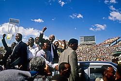 Nelson Mandela at Bisho stadium in 1994, during campaigning. Photo Greg Marinovich