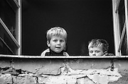 Child refugees from Bosnia in the Varazdin refugee camp in Croatia in the winter of 1992.