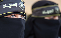 December 17, 2018 - Gaza City, The Gaza Strip, Palestine - Palestinian women from the Islamic Jihad movement participated  in solidarity protest with the Palestinian Prisoners in Israeli jails in front of Red Cross headquarter in Gaza city. (Credit Image: © Hassan Jedi/Quds Net News via ZUMA Wire)