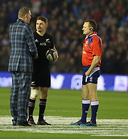 Rugby Union - 2017 Autumn Internationals - Scotland vs. New Zealand<br /> <br /> Doddie Weir Scotland international delivers the match ball to Beauden Barrett of New Zealand at Murrayfield.<br /> <br /> COLORSPORT/LYNNE CAMERON
