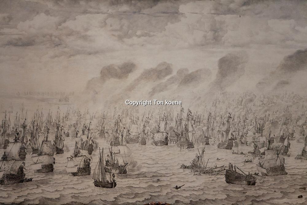 sea battle atterheide, against the britisch. at the rijksmuseum, amsterdam