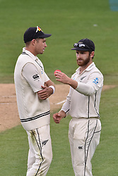 March 26, 2018 - Auckland, Auckland, New Zealand - Tim Southee (L) and Kane Williamson (R) of Blackcps during Day Five of the First Test match between New Zealand and England at Eden Park in Auckland on Mar 26, 2018. (Credit Image: © Shirley Kwok/Pacific Press via ZUMA Wire)
