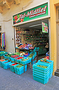 Small greengrocer shop in town centre of Rabat Victoria, Gozo, Malta