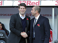 Saturday, 03 November 2012..Pictured L-R: Swansea manager Michael Laudrup greets Chelsea manager Roberto di Matteo...Re: Barclays Premier League, Swansea City FC v Chelsea at the Liberty Stadium, south Wales.