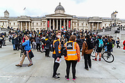 People gather in Trafalgar Square during a Black Lives Matter rally, in London, Friday, June 12, 2020. Worldwide protests continue to take place prompted by the death last month of George Floyd by police officers in Minneapolis, USA that has led to protests in many countries and across the US calling for an end to racial injustice. (Photo/ Vudi Xhymshiti)