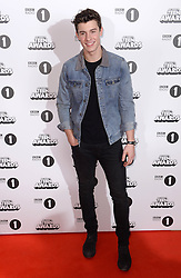 Shawn Mendes arriving at the BBC Radio 1 Teen Awards, held at the SSE Wembley Arena, London.<br /> <br /> Picture date: Sunday, 23 October, 2016. Photo credit should: Doug PetersEMPICS Entertainment