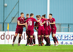 Players of Triglav celebrate after scoring first goal during football match between NK Triglav Kranj and NK Domzale in 35th Round of Prva liga Telekom Slovenije 2018/19, on May 22nd, 2019, in Sports park Kranj, Slovenia. Photo by Vid Ponikvar / Sportida