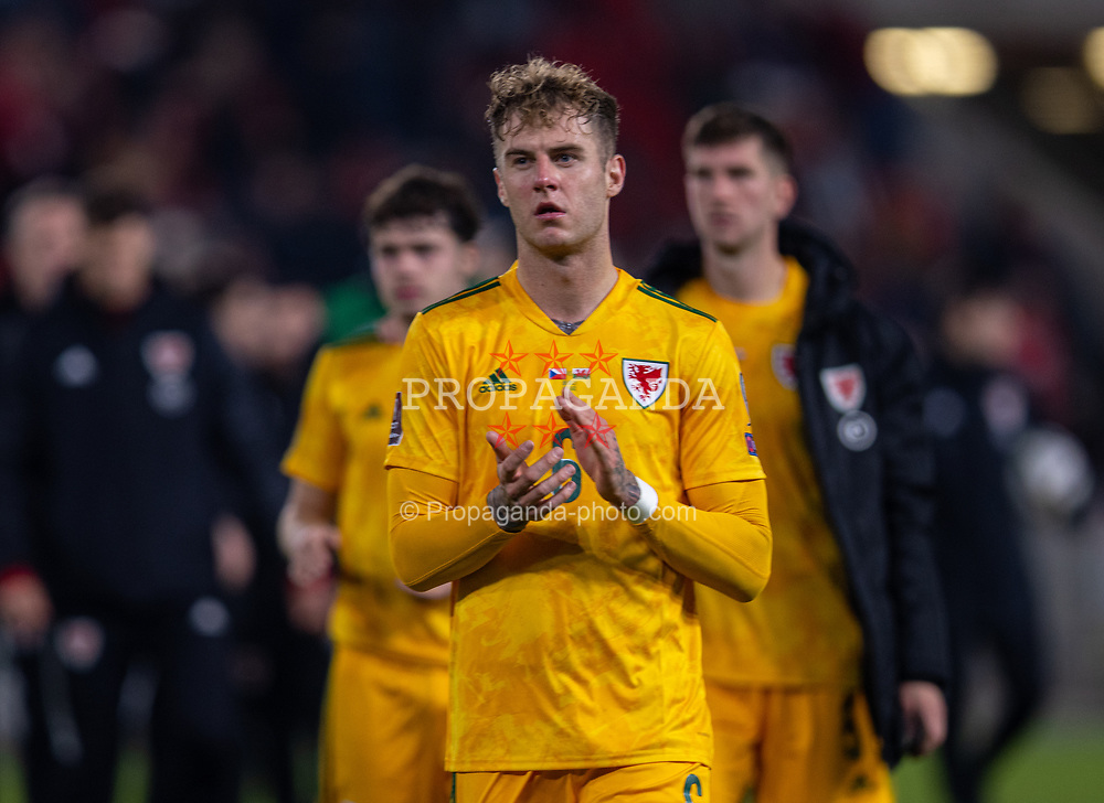 PRAGUE, CZECH REPUBLIC - Friday, October 8, 2021: Wales' Joe Rodon applauds the travelling supporters after the FIFA World Cup Qatar 2022 Qualifying Group E match between Czech Republic and Wales at the Sinobo Stadium. The game ended in a 2-2 draw. (Pic by David Rawcliffe/Propaganda)
