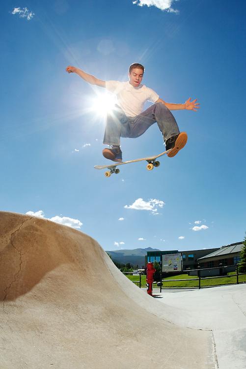 Skateboarding in Breckenridge Skatepark. Breckenridge, Colorado