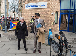 Edinburgh, Scotland,UK. 28 March 2018. Clara Ponsati Catalonia former Education Minister arrives at St Leonards police station in Edinburgh to hand her herself in under an extradition arrest warrant issued by the Spanish Government. She is accompanied by her lawyer Aamer Anwar.