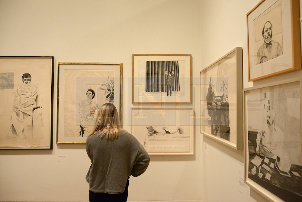 © Licensed to London News Pictures.04/02/2014. London, UK. A visitor looks at David Hockney's artwork during a press view of the 'Hockney, Printmaker' exhibition in Dulwich Picture Gallery.The gallery celebrates 60 years of the British artist David Hockney's printmaking. Photo credit : Peter Kollanyi/LNP