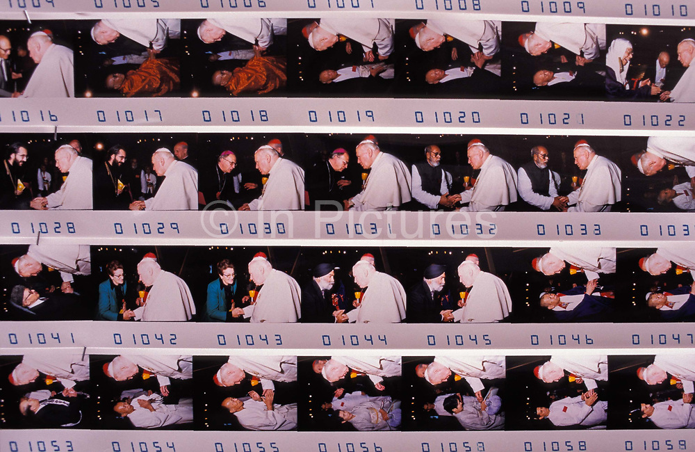 A detail of photos that are on sale to those who have shaken the hand of Pope John Paul II at the Vatican, on 3rd November 1999, in Rome, Italy. Jan Pawel II; born Karol Jozef Wojtyla 1920-2005 was head of the Catholic Church and sovereign of the Vatican City State from 1978 to 2005.