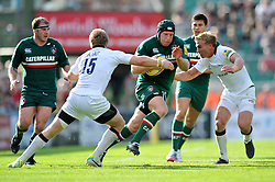 Leicester Tigers flanker Thomas Waldrom goes on the attack - Photo mandatory by-line: Patrick Khachfe/JMP - Tel: Mobile: 07966 386802 - 21/09/2013 - SPORT - RUGBY UNION - Welford Road Stadium - Leicester Tigers v Newcastle Falcons - Aviva Premiership.