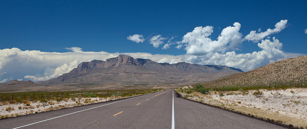 Approaching Guadalupe Mountains of west Texas from the south.  El Capitan, the most prominent feature on the southern most end of the range, is clearly visible.