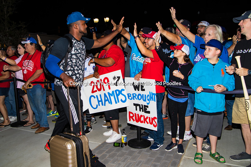 Amarillo Sod Poodles pitcher Carlos Belen (50) greets fans during the homecoming celebration after the Sod Poodles won the Texas League Championship early on Monday, Sept. 16, 2019, at HODGETOWN in Amarillo, Texas. [Photo by John Moore/Amarillo Sod Poodles]