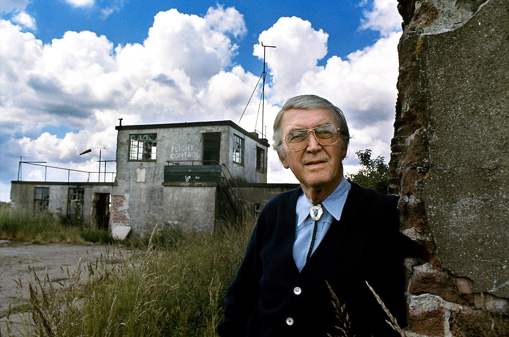 American actor James Stewart seen on a visit to the old US airbase at Tibenham, Norfolk, England where he was stationed as a pilot during the Second World War.June 1975. Photographed by Terry Fincher