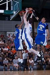 25 June 2011: Royce Muskeyvalley (13), Ryan Sawvell (32 - University of Evansville recruit), Karrington Ward (35) at the 2011 IBCA (Illinois Basketball Coaches Association) boys all star games.