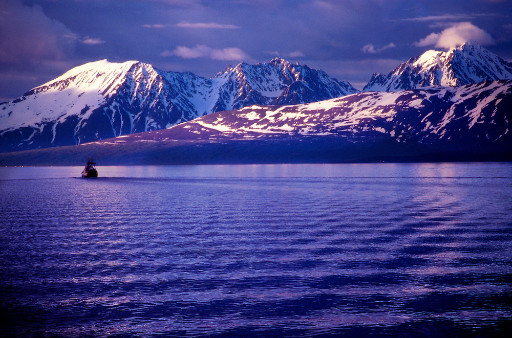 Evening view of a fishing boat and it's wake, with snowcapped peaks in background, north of Tromso (Arctic), Northern Norway during Midnight Sun