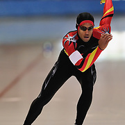 September 18, 2010 - Kearns, Utah - Jamahl Thompson races in long track speedskating time-trials held at the Utah Olympic Oval.