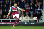 Dimitri Payet of West Ham United taking a free kick. The Emirates FA cup, 6th round replay match, West Ham Utd v Manchester Utd at the Boleyn Ground, Upton Park  in London on Wednesday 13th April 2016.<br /> pic by John Patrick Fletcher, Andrew Orchard sports photography.