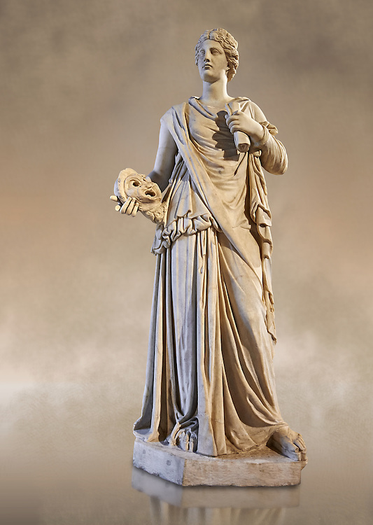 Female statue known as the Muse de Louveciennes, a Roman statue of the 3rd century AD from Rome. The Royal Collection Inv No. MR 354 or Ma 170, Louvre Museum, Paris. .<br /> <br /> If you prefer to buy from our ALAMY STOCK LIBRARY page at https://www.alamy.com/portfolio/paul-williams-funkystock/greco-roman-sculptures.html- Type -    Louvre    - into LOWER SEARCH WITHIN GALLERY box - Refine search by adding a subject, place, background colour,etc.<br /> <br /> Visit our CLASSICAL WORLD HISTORIC SITES PHOTO COLLECTIONS for more photos to download or buy as wall art prints https://funkystock.photoshelter.com/gallery-collection/The-Romans-Art-Artefacts-Antiquities-Historic-Sites-Pictures-Images/C0000r2uLJJo9_s0c