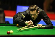 Mark Selby of England in action during his 1st round match against Liam Highfield of England .  Coral Welsh Open Snooker 2017, day 2 at the Motorpoint Arena in Cardiff, South Wales on Tuesday 14th February 2017.<br /> pic by Andrew Orchard, Andrew Orchard sports photography.