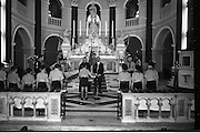 20/01/1963<br /> 01/20/1963<br /> 20 January 1963<br /> CBSI Investiture at Merchants Quay, Dublin. Investiture of 52 Scouts and 30 Macoimh, and presentation of 4 commissions to Scout Masters at the Franciscan Church. Investiture of Scouts with view of altar.