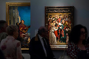 The Death of the Virgin 1481 - Frieze Masters 2014 - including a huge range of works from religious relics, through old masters to contemporary art with prices upto millions of pounds. Regents Park, London, 14 Oct 2014.
