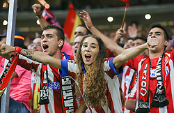 September 27, 2017 - Madrid, Spain - Athletico Madrid fans enjoy the pre match atmosphere ahead of the UEFA Champions League  group C match between Atletico Madrid and Chelsea FC at Vicente Calderon Stadium on September 27, 2017 in Madrid, Spain. (Credit Image: © Ahmad Mora/NurPhoto via ZUMA Press)
