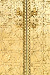 Ornate golden doors of Royal Palace of Fes, Fes al Bali medina, Fes, Morocco