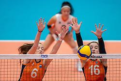 Marije ten Brinke of Netherlands, Jolijn de Haan of Netherlands in action during semi final Netherlands - Serbia, FIVB U20 Women's World Championship on July 17, 2021 in Rotterdam
