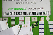 Chardonnay, Pinot Noir, France's best mountain vineyard sign and label collection. Domaine Jean Louis Denois. Limoux. Languedoc. France. Europe.