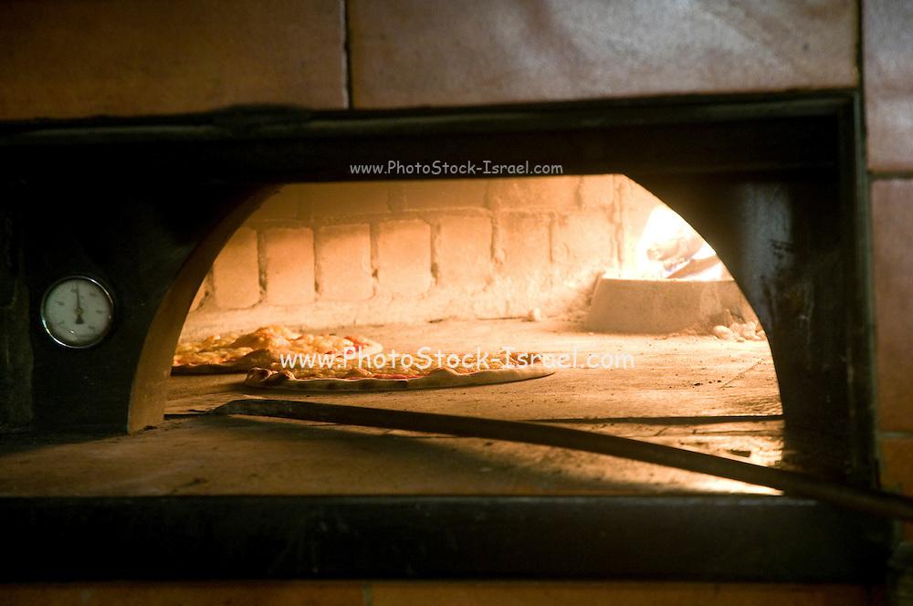 Italy, The Dolomites, Bolzano-Bozen, Brixen (also Bressanone) The burning oven in the local Pizzeria